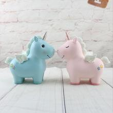 Pink Unicorn Resin Piggy Bank Cartoon Animal Coin Bank  Money Saving Box Gifts Room Decorative Figurines Toys For Girl Gift