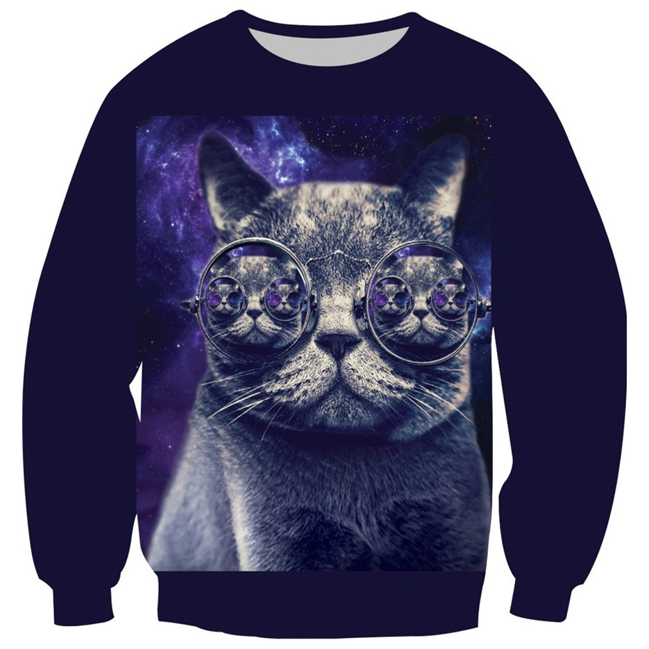2018 New Style Children 3D Sweatshirt Galaxy Glasses Cat Ice Cream Pizza Print Hoodies Boy Girl Fashion Fleece Inside Pullovers 2018 new tiger printed 3d sweatshirt