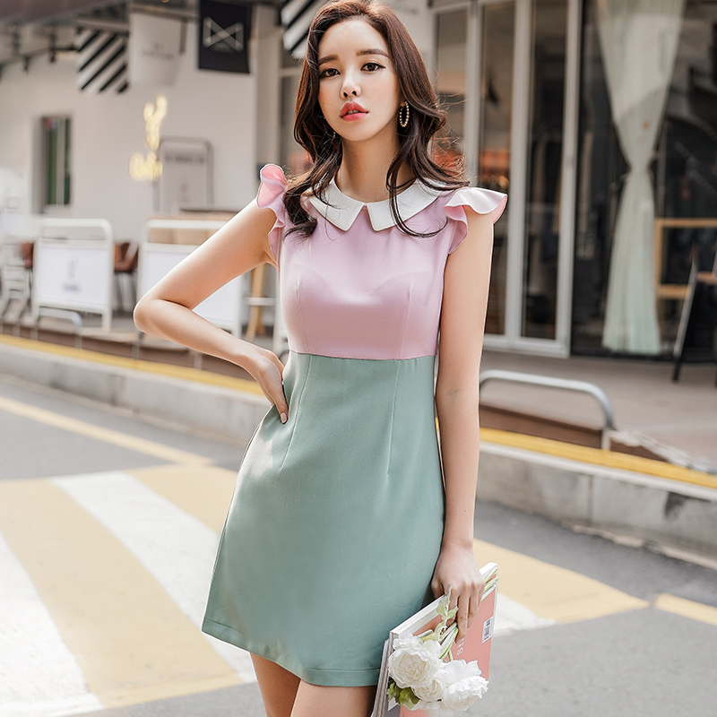 74678ff12d7d Dabuwawa OL Style elegant Fashion Patchwork Peter pan Collar Summer Dress  2018-in Dresses from Women's Clothing on Aliexpress.com | Alibaba Group