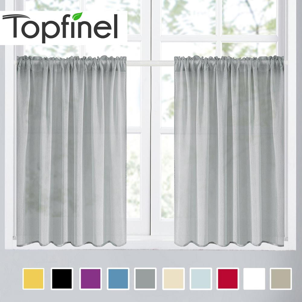 Topfinel Plain Voile Curtain Sheer Curtain For Kitchen Living Room Bedroom Decorative Tulle Curtain Window Tulle Drapes Short