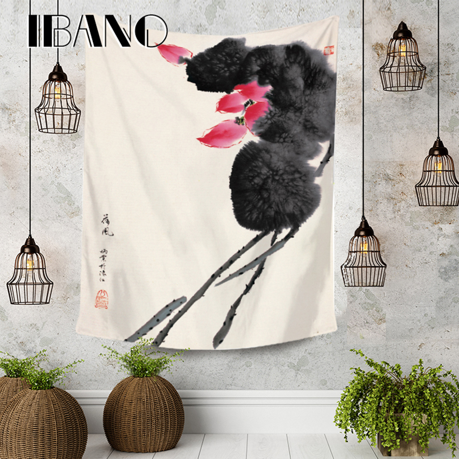 IBANO Chinese Ink Painting HippieTapestry Art Wall Hanging Blanket Home Decoration for Bedroom Dorm Yoga Mat Table Cloth in Tapestry from Home Garden