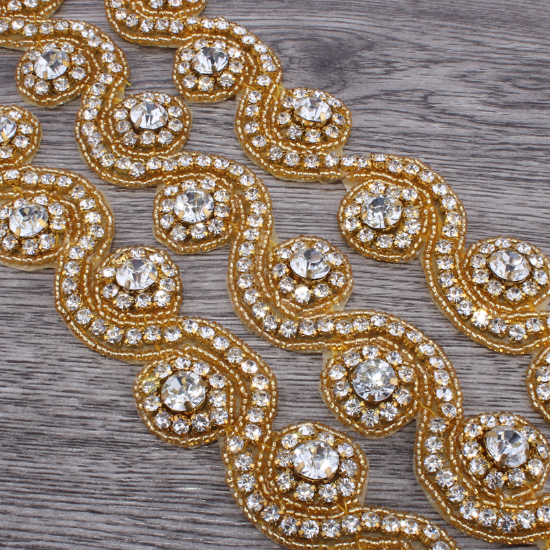 1Yard 3.3cm Fashion Sew On Base Crystal Rhinestone Applique Trim  Accessories Bridal Costume Beaded Dress Trimming Decoration-in Rhinestones  from Home ... 1a92dc09bf2e