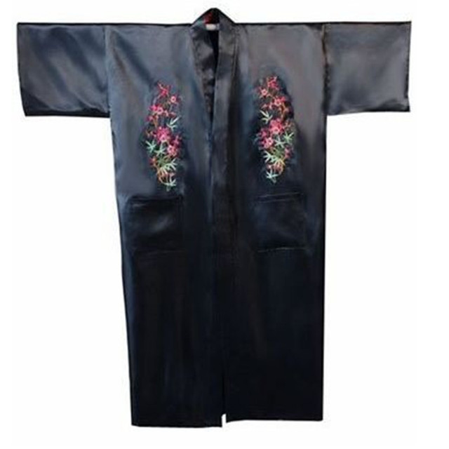 Hot Sale Black Chinese Men s Satin Robe Embroidery Flower Kimono Bath Gown  Spring Autumn Nightwear Size S M L XL XXL XXXL 0f88b8641