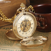 Luxury Gold Steel Carving Mechanical Pocket Watch 2 Sides Open Case Roman Number Dial Steampunk Analog