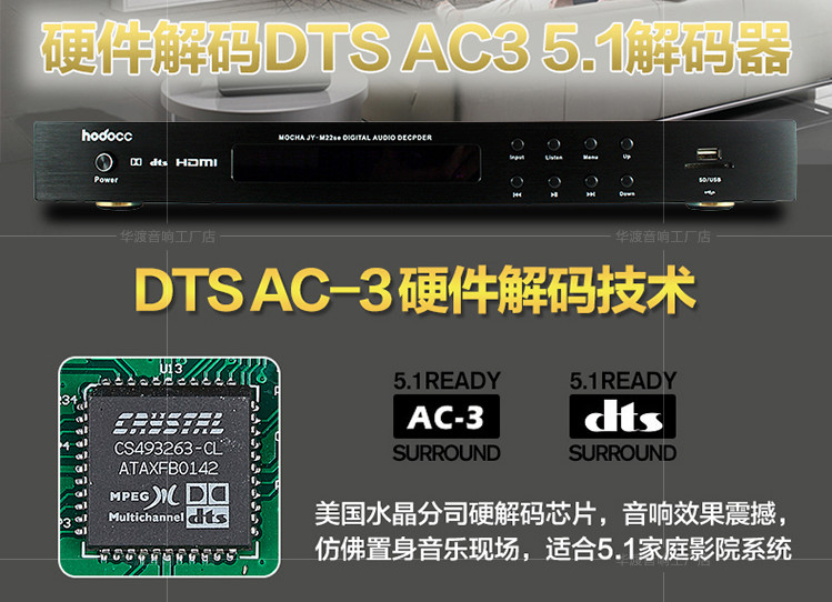 5 1 channel CS493263 Dts AC-3 decoder Bluetooth 4 2 HDMI Home Theater Audio  Amplifier Fiber coaxial USB SD card playback