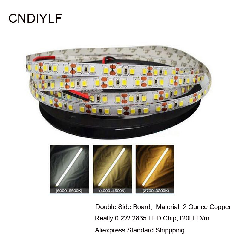 Rychlé zaslání Vysoký jas Bílá 2835 LED Strip 5m Light Emitting Diode Tape 0,2W / LED DC 12V 24V 5m / Roll, 120LED / m
