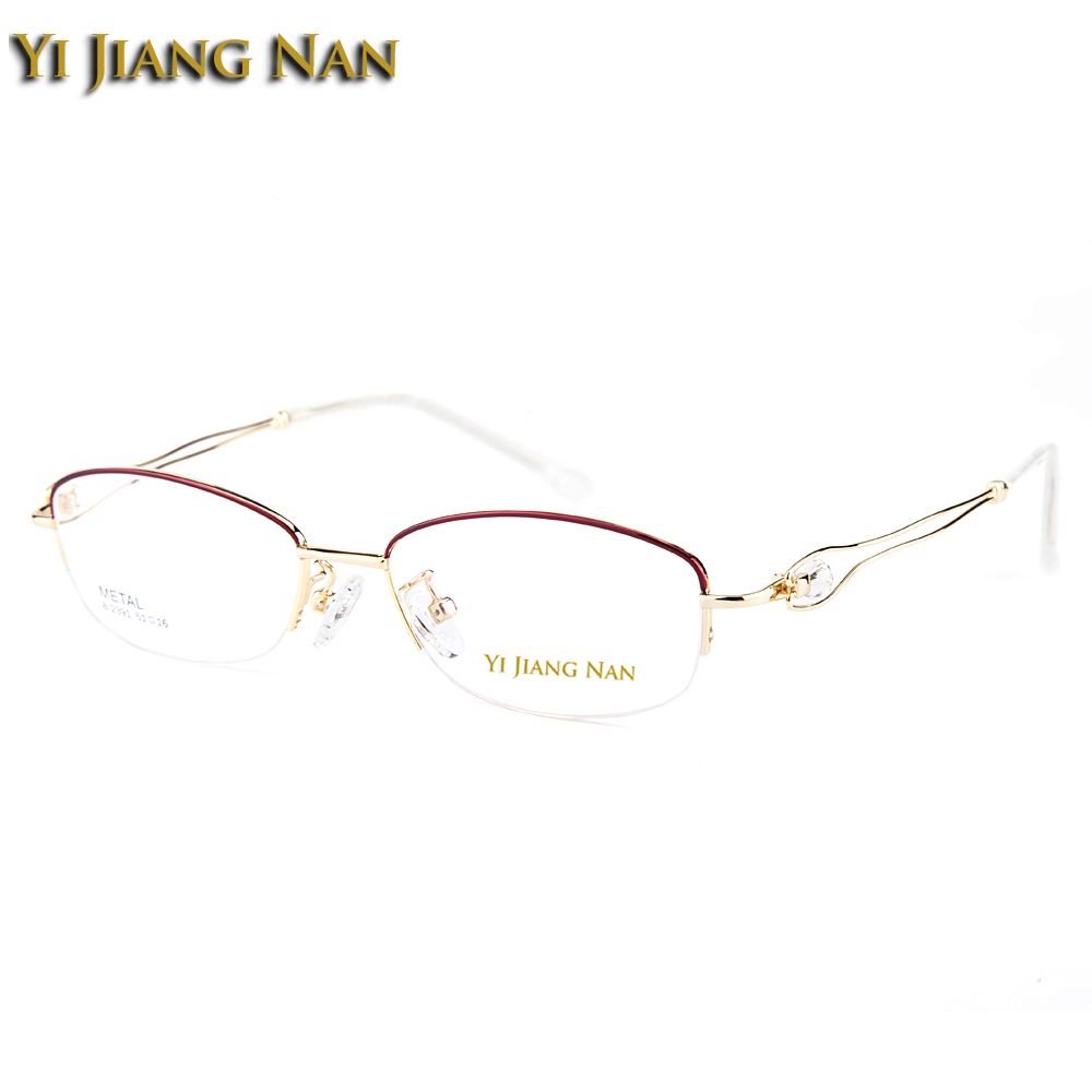 Yi Jiang Nan Brand Half Frame Fashion Female Eyeglasses Semi Rimmed Beautiful Pink Eyeglass Frames with Rhinestones Women Frames in Women 39 s Eyewear Frames from Apparel Accessories