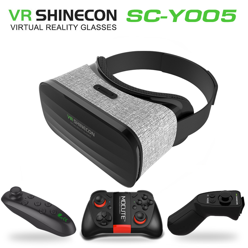 2017 Original VR Shinecon Y005 3D Immersive Virtual Reality Glasses Cardboard VR Box for 4.3-6.0 inch Smartphone + Controller