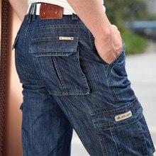 Dżinsy Cargo mężczyźni duży rozmiar 29 40 42 Casual wojskowe wielo dżinsy z kieszeniami odzież męska 2019 nowy wysokiej jakości