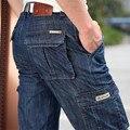 Pantalones vaqueros Cargo hombres talla grande 29-40 42 Casual militar Multi-pocket Jeans ropa masculina 2017 nueva alta calidad