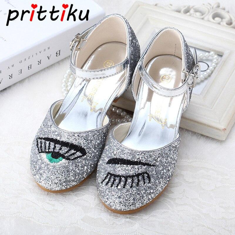 Toddler Girl Sequin Glitter Low Heel Sandals Little Kids Mary Jane PU Leather Pumps Big Children Dance Show Princess Dress Shoes