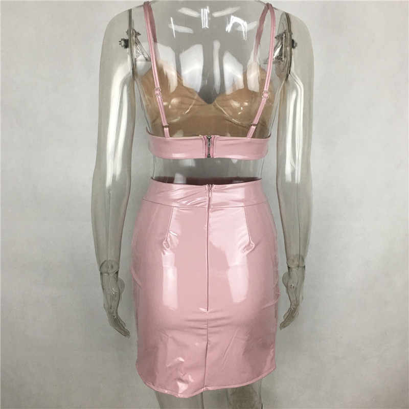 8b07f2f449 ... Black Red Pink PU Leather Latex Slit Dress Set Sexy Spaghetti Strap  Backless Bandage Party Dress ...
