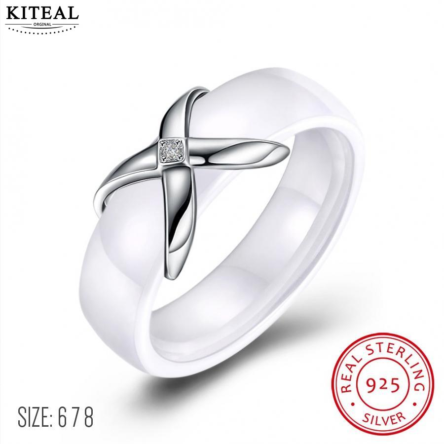 Kiteal Trendy Real 925 Sterling Silver Female Engagement Ring X Cross Black White Ceramic Jewelry