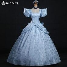 Высокое качество, Костюм Золушки для косплея, синяя парча, платье принцессы Золушки для женщин