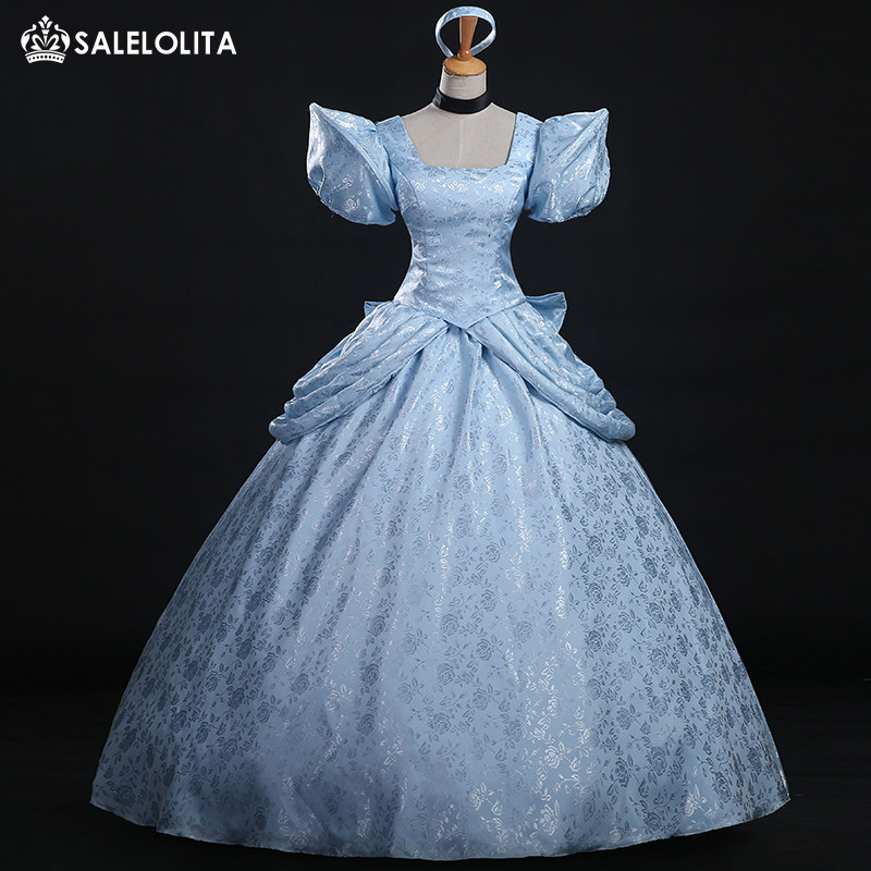 2017 High Quality Cinderella Cosplay Costume Blue Brocade Printed Princess  Cinderella Dress For Women 96865bc0ce70
