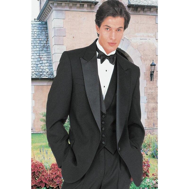 새로운 도착 빈티지 블랙 신랑 턱시도 피크 옷깃 하나의 버튼 웨딩 들러리 정장 저녁 턱시도 남성 정장