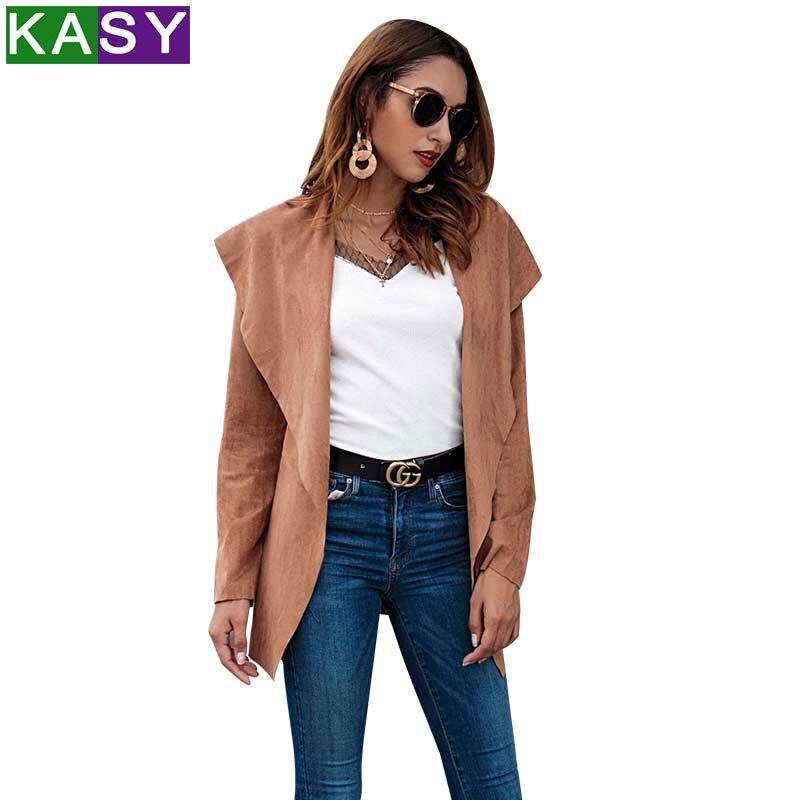 2018 Autumn Winter Short Coat Khaki Open Stitch Classy Chic Jacket High Street Elegant Coat Plus Size Women Basic Jacket