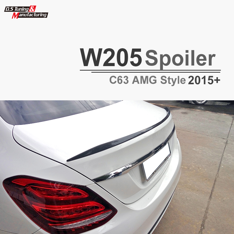 C63 AMG Style Replacement Mercedes W205 Carbon Fiber Spoiler For 2015 2016 2017 Benz C Class 4 door Trunk Lid 2015 2016 amg style w205 carbon fiber rear trunk spoiler wings for mercedes c class c180 c200 c250 c300 c350 c400 c450 c220