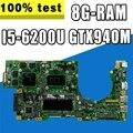 K501UW материнская плата для ноутбука ASUS K501UQ K501U тестовая оригинальная материнская плата DDR3 8G-RAM I5-6200U GTX940M