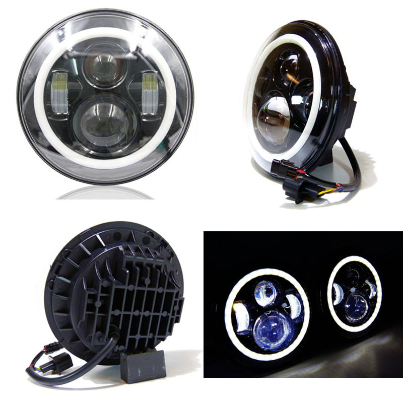 7 LED Headlights Halo Angle Eyes For Jeep Wrangler JK LJ TJ LED Projector Headlights For Land Rover Defender