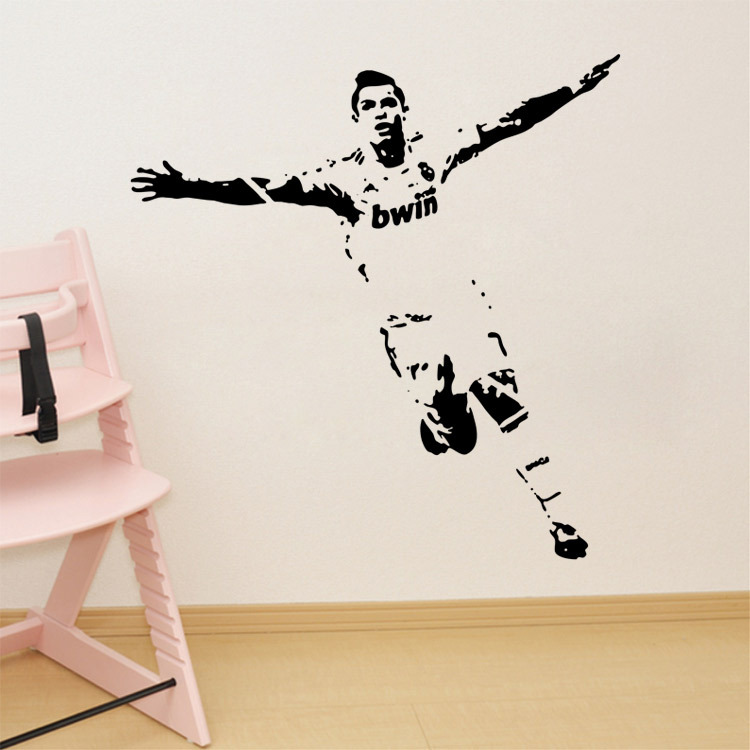 DIY Removeble Sport Star Cristiano Ronaldo Sketch Wall Stickers ...