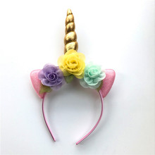 2018 Glitter Metallic Unicorn Headband Girls Chiffon Flowers Hairband For Kids leaf flower Unicorn Horn Party Hair Accessories