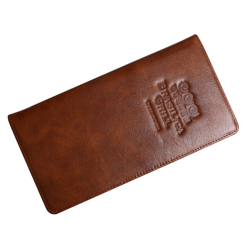 Brown Genuine Leather Menu Holder Restautant Menu Cover Money Receipt High Quality Accept Customized Order Print Your Own Logo