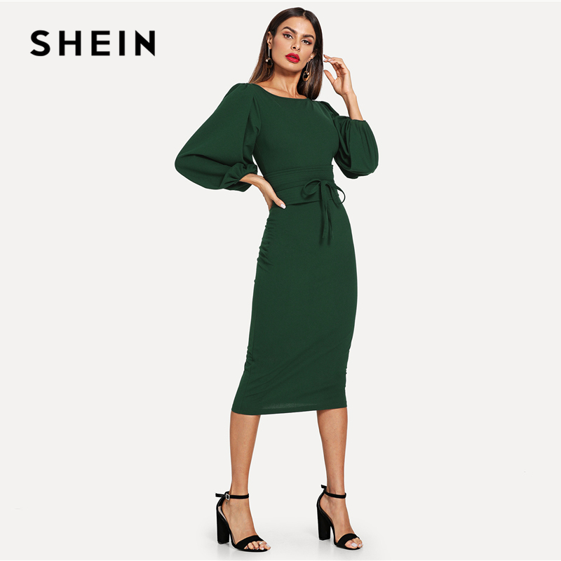 dbfc281171d SHEIN Green Tie Waist Lantern Sleeve Dress Elegant Party Boat Neck Pencil  Dresses Women Zipper Knot ...