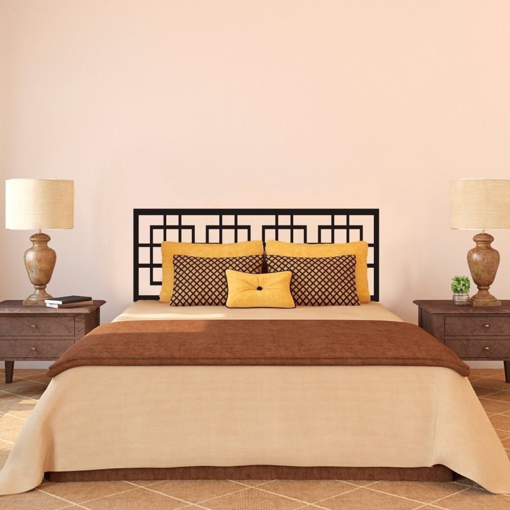 Modern Headboard Wall Decal Master Couple Bedroom Vinyl