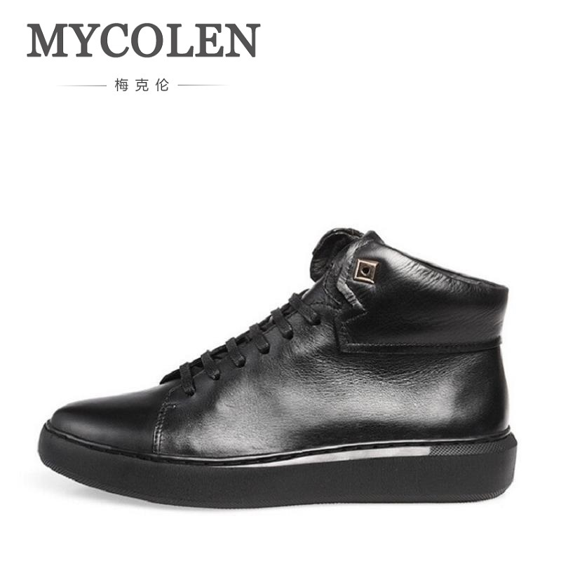 все цены на MYCOLEN New Fashion Men Boots High Top Men Ankle Boots Lace Up Breathable Leather Boots Casual Round Toe Rivet Men Shoes
