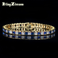 BlingZircons Dubai Yellow Gold Color Square Blue And White Cubic Zirconia Crystal Hot Sale Bracelet Jewelry For Women B038