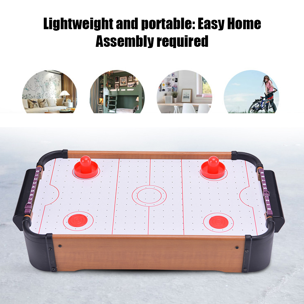 Mini Table Hockey Top Air Hockey Game Pushers Pucks Family Xmas Gift Arcade Toy Playset Entertainment Accessories