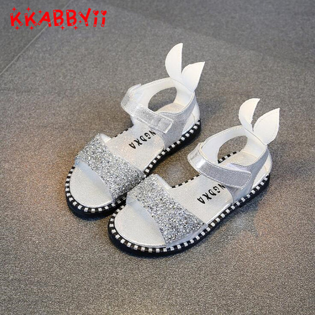 160fb6640 2018 Hot Sale Baby Girl Sandals Fashion Bling Shiny Rhinestone Girls Shoes  With Rabbit Ear Kids