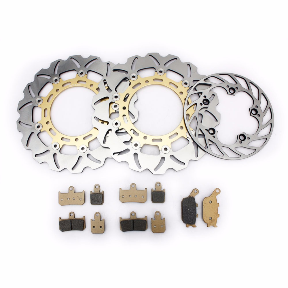 BIKINGBOY disques de frein avant arrière disques Rotors Kit de plaquettes de frein pour Yamaha YZF R1 07 08 09 10 11 12 13 14 2007-2014