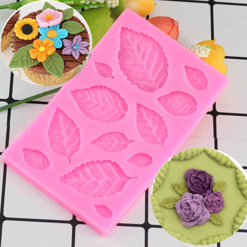 Mujiang DIY Tree Leaf Press Molding Silicone Mold Cake Decorating Fondant Molds Cake 3D Leaves Chocolate Candy Fimo Clay Mould