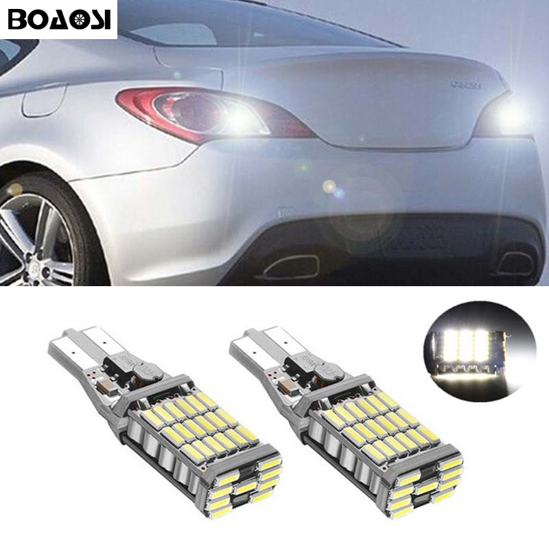 BOAOSI 2x Canbus T15 LED Reverse Lights W16W 45SMD Car LED Back Up Rear Lamp For Hyundai ix20 ix35 ix55 Veloster Verna Solaris boaosi 2x h8 h11 led canbus bulbs reflector mirror design for fog lights for bmw e39 325 328 m mini sport