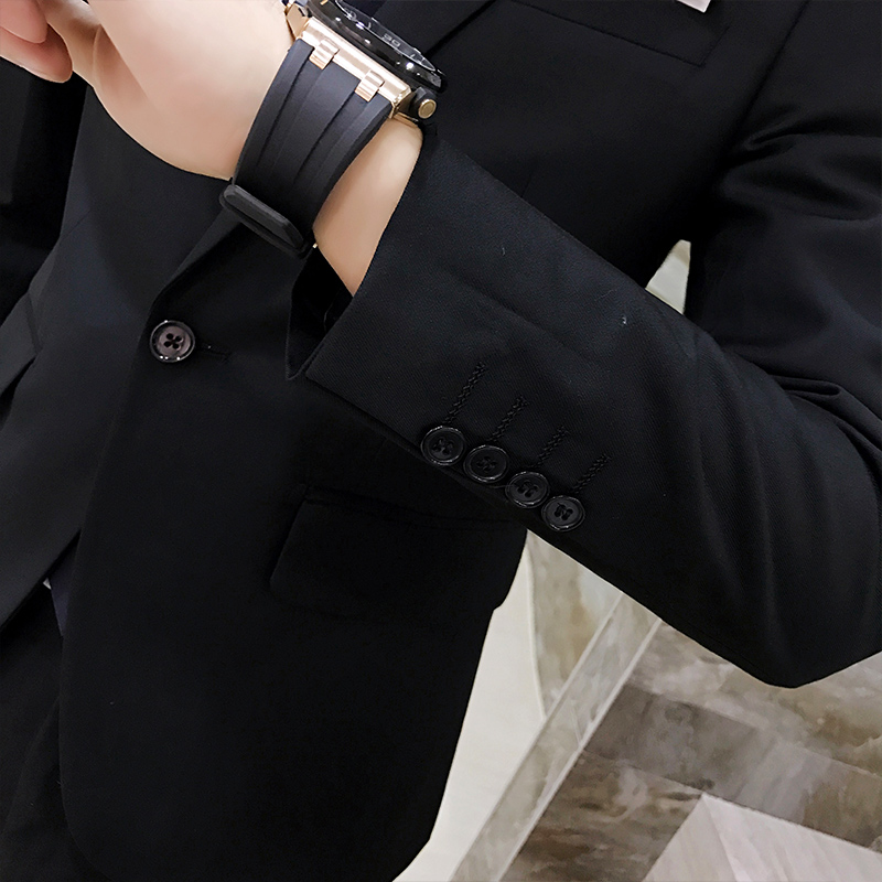 5096ada749098 2pcs/set 2019 new fashion Korean style Slim Black Mens suit with pants High  quality