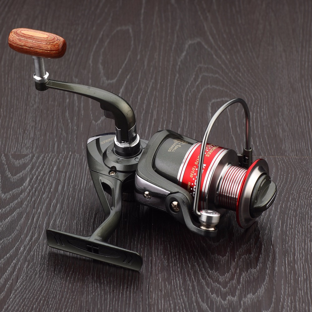 HOT SALES KF1000-7000 spinning fishing reel 13 Ball Bearings lightweight Pre-loading front drag interchangable handle wood knob