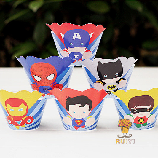 48pcs Superhero Avengers Superman Batman Cupcake Wrappers Toppers Decoration Kids Birthday Party Supplies Cases Liner