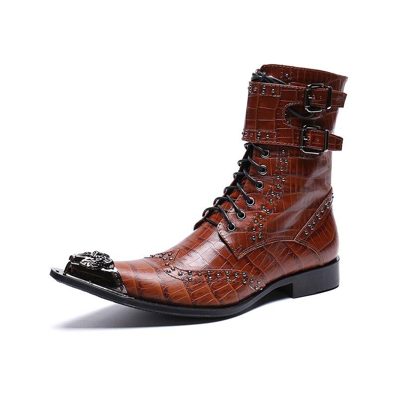 Elevador La Moda Zapatos Botas Transpirables Hombre Tendencia Los Rojo Hombres Cuero De Genuino Remache Punta 5InAzqAwx8