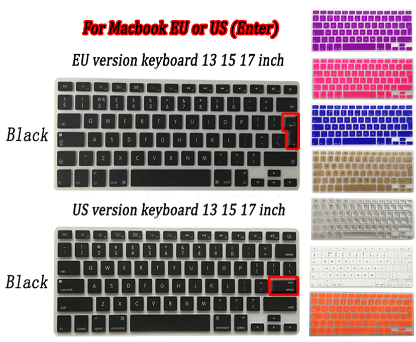 Silicone laptop Keyboard Cover Skin sticker for MacBook Pro retina air 13 15 17 inch EU UK US layout