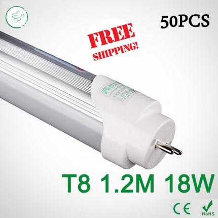 50PCS 4ft LED Tube T8 1200mm 18W AC 85V-265V smd2835 Cold White / Warm White 4000K LED Fluorescent light via FedEx