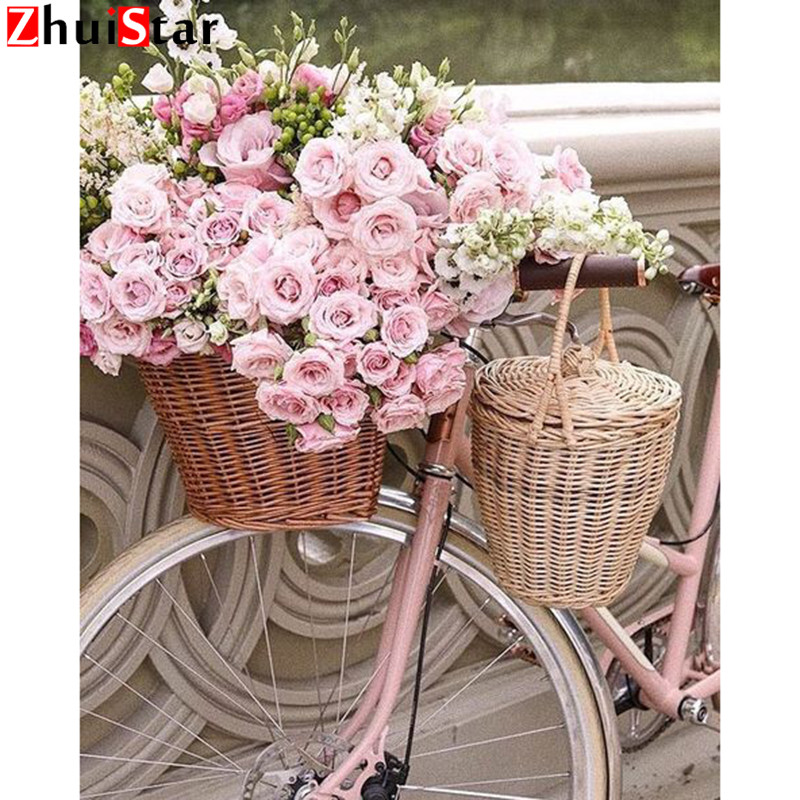 5D DIY Diamond Painting Landscape Diamond Embroidery Bicycle&Flower Full Square Drill Mosaic Cross Stitch Decoration Home XY1
