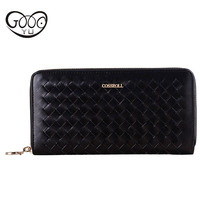 Fashion Handmade Leather Woven Multi Color Wallet Ladies Cross Style Square Multi Card Long Section Zipper