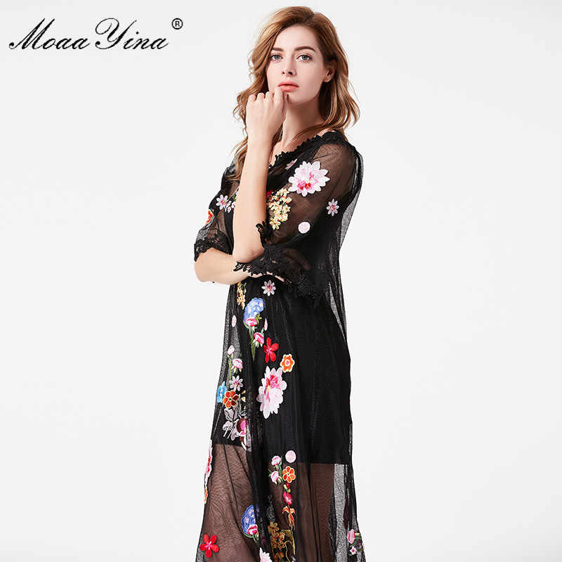 MoaaYina ファッションデザイナー滑走路夏の女性ドレス v 襟半袖メッシュ花レース刺繍エレガントなホリデードレス