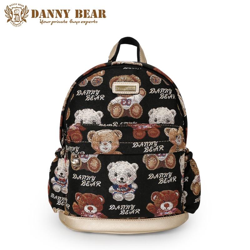 DANNY BEAR Preppy Style Women Backpack Small Students School Bags Fashion Korean Back Bag Female Travel Bags Backpacks mochila primary school students school bag 3 6 candy color preppy style backpack