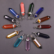 14 Colors Bullet Shape Vintage Natural Stone Pendant Statement Crystal Gem Stone Quartz Pendants for Women Fashion Jewelry(China)