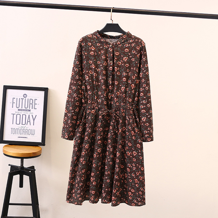Floral Dress Prairie Chic V neck Long Sleeve Plus Size Women A line Dress Knee Length Vestidos SWM1311 in Dresses from Women 39 s Clothing