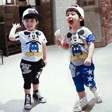 Hot sales mickey Children Cloths set baby girls boys Clothes sets Minnie short sleeve t-shirt+pant summer style Kids sport suit