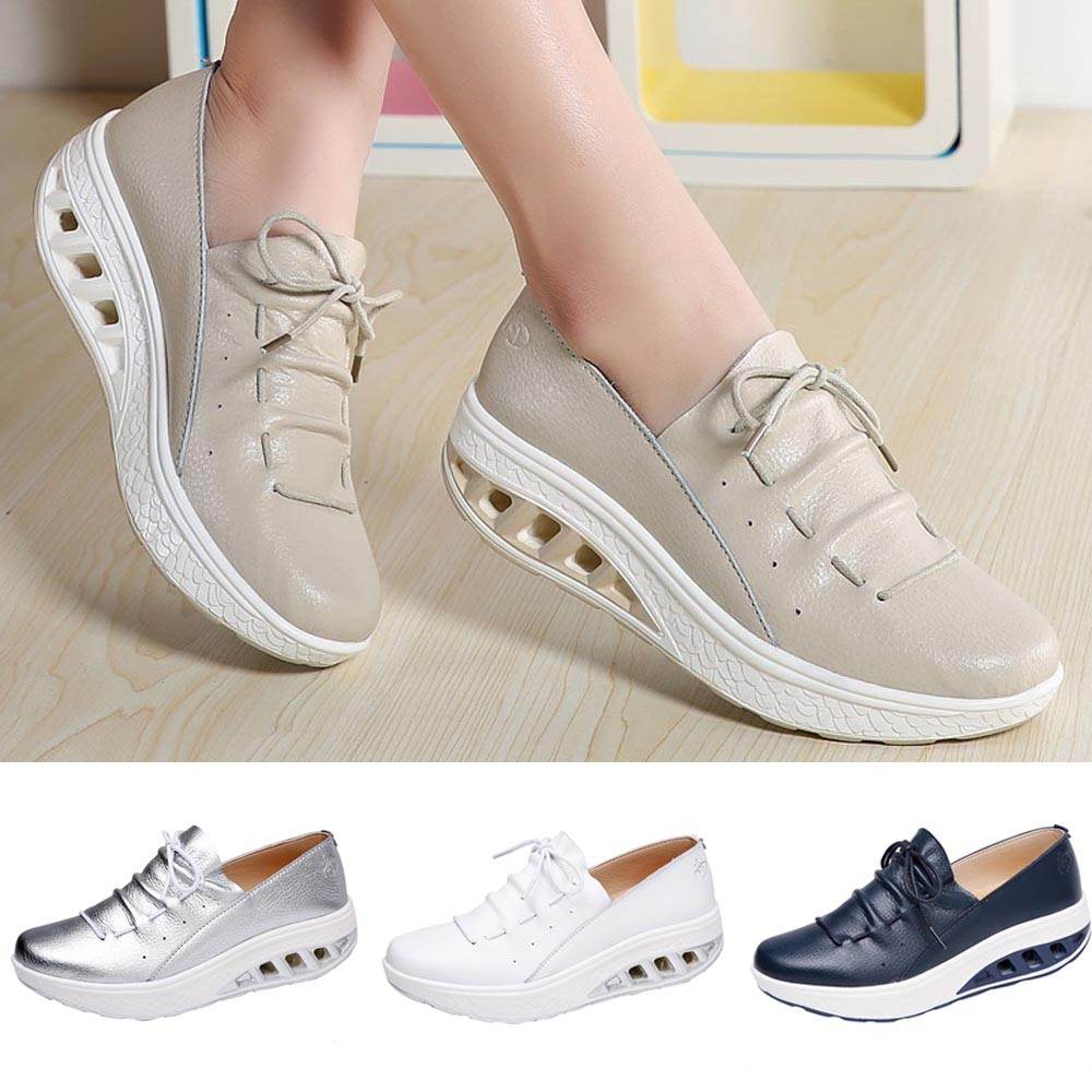 af3dc596f97c Sneakers Mode Serrent Femmes Coussin Ronde 13 D'air Chaussures argent Donna  Baskets Youyedian Compensées Respirant ...